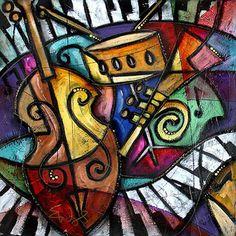 Eric Waugh: Musical Fusion Music Painting, Art Music, School Murals, Fusion Art, Blue Art, Cubism, Mail Art, Rock Art, Art Boards