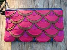 OOAK Upcycled Bronze and Hot Pink Leather Fuscia by GoLightlyStyle, $120.00