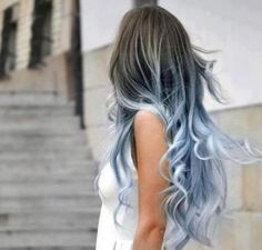 "This would be fun to do... my hair is no where near long enough, but would be fun to do an ""under"" color with regular on top... I'd do white... but I love the powder blue here too."