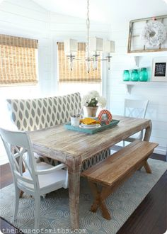 Plancolorssful Dining Room Table and Chair. 20 Plancolorssful Dining Room Table and Chair. before & after Open Plan Dining Room & Entry Kitchen Seating, Kitchen Nook, Kitchen Dining, Kitchen Decor, Banquette Seating, Table Seating, Kitchen Ideas, Sweet Home, Diy Casa