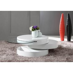 HomeRoots Furniture Modern MDF and Glass Swivel Coffee Table in High Gloss White Finish Contemporary Coffee Table, Modern Coffee Tables, Furniture Deals, Modern Furniture, Accent Furniture, Coffee Table Size, Elderly Home, Coffee Table Wayfair, Sofa End Tables