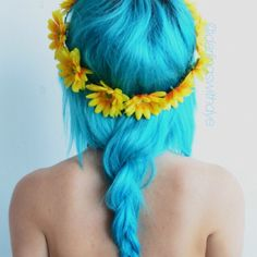 neon blue #aqua #sunflowers