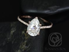 *NEW RELEASE* Ann 10x7mm 14kt Rose Gold Pear FB Moissanite and Diamonds Cathedral Engagement Ring (Other Metals/Stone Options Available)