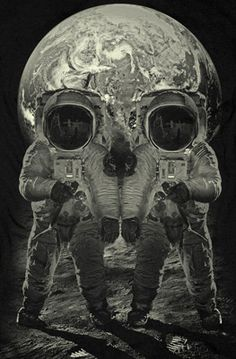 Optical illusion of a skull made by combining two astronauts.