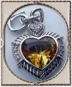 Judith Ripka Sterling Silver Citrine Heart Enhancer Pendant #JudithRipka #Pendant
