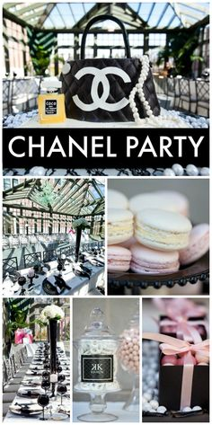 This Chanel inspired party uses the classic black and white with pearls and the signature Chanel quilting! See more party ideas at CatchMyParty.com!