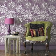 Love the mix of the muted purple and the olive green.