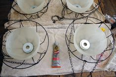Hanging solar lights using glass chandelier bowls and dollar store items! - Repurposed solar lighting - Hanging solar lights using glass chandelier bowls and dollar store items! Best Picture For solar l - Hanging Photos, Diy Hanging, Hanging Lights, Outdoor Light Fixtures, Outdoor Lighting, Lighting Ideas, Landscape Lighting, Outdoor Lamps, Outdoor Furniture