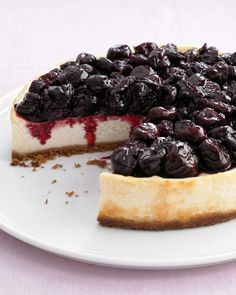 Light Cherry Cheesecake - You'd never guess by the velvety texture that this cheesecake boasts less fat than the original, thanks to cottage cheese and lighter versions of cream cheese and sour cream.