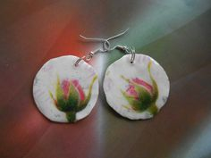 Polymer clay earrings with decoupage | Flickr - Photo Sharing!