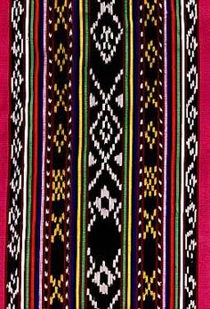 Ikat or ikkat, is a style of weaving that uses a resist dyeing process similar to tie-dye on either the warp or weft before the threads are woven to create a pattern or design. A double ikat is w… Traditional Filipino Tattoo, Filipino Art, Filipino Tribal, Filipino Tattoos, Indian Tattoos, Textile Pattern Design, Textile Patterns, Print Patterns, Blanket Patterns