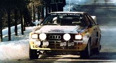 Swedish rally driver Stig Blomqvist piloting his Audi s1 Sport at the 1984 Rally Monte Carlo.  Blomqvist won the World Rally Championship drivers' title in 1984 and finished runner-up in 1985 driving for the Audi factory team.