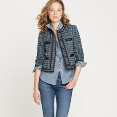 J Crew fanfare jacket in peacock tweed blazer A great tweed style jacket with a beautiful mix of blues and greens.  MEASUREMENTS Shoulders:  Waist:  Hips:  Rise:  Leg Opening:   Fabric Content:     ••  As always I follow all Postmark rules & No trades. Please make all offers through the offer button - lots of love girls! J. Crew Jackets & Coats Blazers