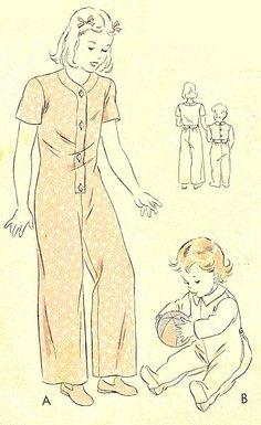 1941 ONE-PIECE PYJAMAS VOGUE 2235