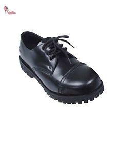 chaussures basses, 3 trous, noir, bout acier, vices, Taille:12 - Chaussures unbekannt (*Partner-Link)