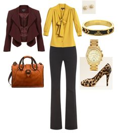 Work Clothes :) LOVE the mustard yellow! & the shoes are fun! Jacket is a bit too casual.