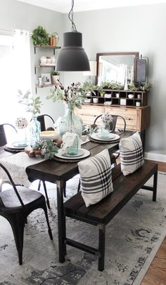 lovely farmhouse dining room table design ideas (start your mission! Farmhouse Dining Room Table, Farmhouse Style Kitchen, Dining Room Walls, Country Farmhouse Decor, Modern Farmhouse Kitchens, Dining Room Furniture, Farmhouse Ideas, Southern Kitchen Decor, Modern Furniture