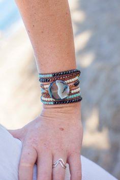 Agate & Czech Fire Polished Wrap Bracelet