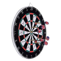 Dartboard, Loveiscool Double-sided Dart Board with 6 Brass Darts - Product Description: Loveiscool dart board is professional, the best choice for exercise, entertainment and relaxing. It's huge and durable suit for professionals and beginners. One side is the tournament board and the other side is the classic dart board game. Good value item for indoor game, co...