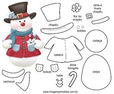 DIY Felt Christmas Ornament Pattern and Template - Salvabrani Holidays greeting card with Spanish phrase means Merry Christmas.ideas for ugly sweater Felt Snowman, Snowman Crafts, Felt Crafts, Christmas Crafts, Felt Christmas Decorations, Felt Christmas Ornaments, Christmas Stockings, Christmas Applique, Christmas Sewing