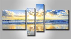 MB 3730444_XS / Cuadro Amanecer en el mar Multiple Canvas Paintings, Multi Canvas Painting, Oil Painting Abstract, Painting Frames, Hallway Pictures, Wall Art Pictures, Realistic Paintings, Colorful Paintings, Pallet Art