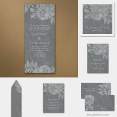 Antique Lace Wedding Invitations: Chalkboard Refined #vintage #wedding #invitations #lace