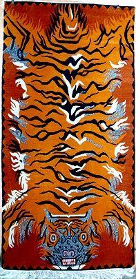 TIBETIAN BUDDHIST CARPETS | Rugs: Flaming Pelt Tiger Carpet - Tibetan Tiger Rugs, Beads, Buddhist ...
