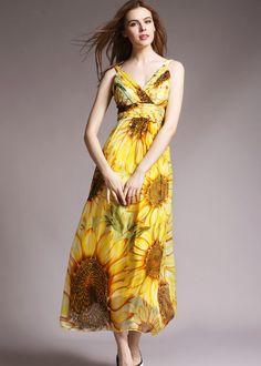 Seide Partykleid in gelb NQ3130