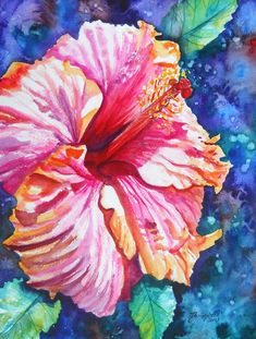 gorgeous!!  Tropical Hibiscus 4 Watercolor Painting Original from Kauai Hawaii hot pink blue orange