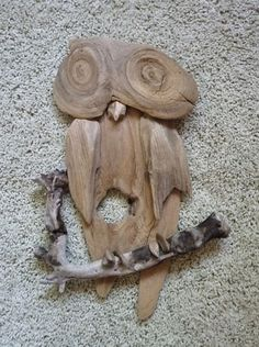 Owl Handmade from Lake Superior Driftwood - Rustic Wall Decor Driftwood Sculpture, Driftwood Art, Branch Art, Driftwood Projects, Owl Crafts, Sticks And Stones, Wood Creations, Beach Crafts, Nature Crafts