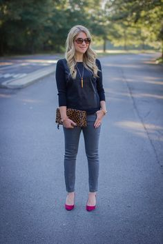 Faux Leather Sweater, Coated Grey Jeans Click through for more casual fall outfit ideas!