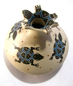 """Mata Ortiz Turtle Vase Hand made Made in Mexico Sign by Jorge Corona Measures 5""""w x 4.75""""t (SIZE AND COLOR MAY VARY) ITEM THAT YOU SEE IN PICTURE IS THE ONE YOU WILL RECEIVE color might be brighter or"""