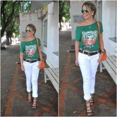 T-shirt Kenzo, Street Style, look fashion, calça destroyed, moda feminina, Blog de Moda