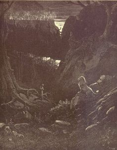 Inferno: Dante before the lion in the dark wood. Creator: Doré, Gustave Date: c.1868