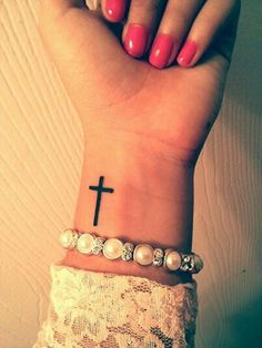 My new cross tattoo on my wrist. On the other side! My new cross tattoo on my wrist. On the other side!,Minimalistic Tattoos My new cross tattoo on my wrist. Cross Tattoo On Wrist, Simple Cross Tattoo, Faith Tattoo On Wrist, Cross On Wrist, Wrist Tattoo Bible Verse, Cross Tattoo Placement, Pretty Cross Tattoo, Trendy Tattoos, New Tattoos