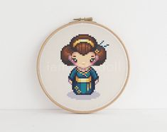 Geisha - a cute pixel art counted cross stitch pattern by iamnotadoll on Etsy Cute Cross Stitch, Counted Cross Stitch Patterns, Cross Stitch Embroidery, Geisha, All Things Cute, Things To Sell, Cross Stitching, Stitching Patterns, Pixel Art