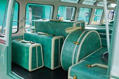 Pretty turquoise luggage set.    House of Turquoise: Guest Blogger: Heather from Vivid Hue Home