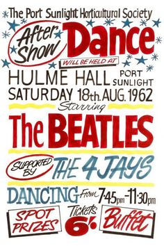 The Beatles at Hulme Hall Concert Poster 1962 The Beatles History, Birth Of The Beatles, Pop Posters, Theatre Posters, Retro Posters, Movie Posters, Beatles Poster, Vintage Concert Posters, Liverpool History