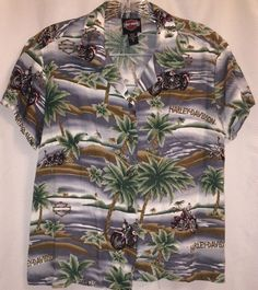 Harley Davidson Motorcycles Hawaiian Aloha Shirt 6 Palm Tree Tori Richard Bike