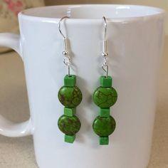 Green turquoise howlite earrings