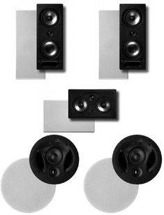 Polk Surround System: Pair of 265rt, One 255crt in-wall front, Pair 70rt in-ceiling rear (Bundle of 5 speakers)