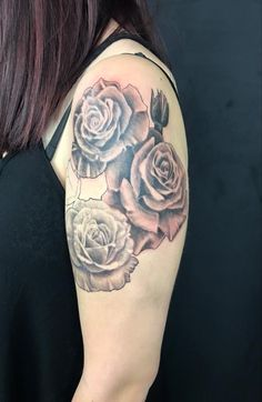 More progress made on this rose half sleeve by Pineapple!  www.luckybambootattoo.com pineapple@luckybambootattoo.com
