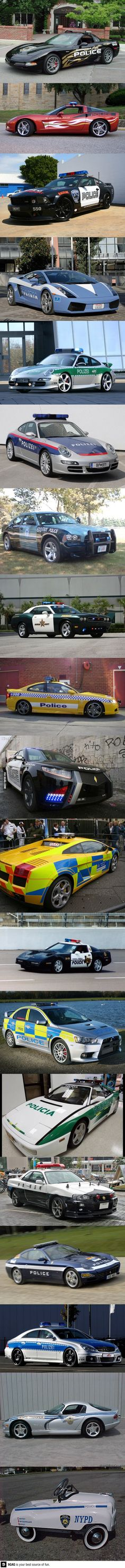 Police cars all over the world - we need corvettes for America's police!