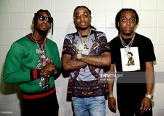 Offset, Quavo, and Takeoff of Migos pose backstage during the kick off the 2016 Honda Civic Tour: Future Now at Philips Arena on June 29, 2016 in Atlanta, Georgia.