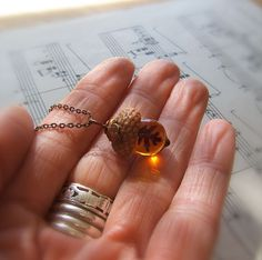 These Glass Acorn Pendants Made With Real Acorn Caps Are The Perfect Autumn Accessory