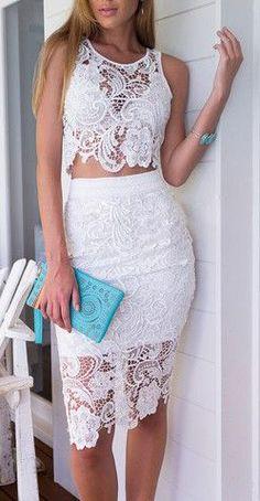 White Crochet Lace Sleeveless Crop Top With High Waist Midi Pencil Skirt