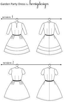 Garden party dress pattern (via Honig Design) Complete downloadable pattern + instructions FREE