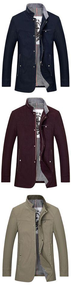 $32.42,Stand Collar Zip Up Slim Fit Jacket - Cadetblue L | Rosewholesale, rosewholesale for men,rosewholesale.com,rosewholesale clothing,jackets,mens fashion,winter jackets | #rosewholesale #jackets #winter