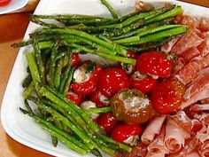 Garlic-Roasted Asparagus recipe from Emeril Lagasse via Food Network Vegetable Side Dishes, Vegetable Recipes, Vegetarian Recipes, Cooking Recipes, Healthy Recipes, Roasted Garlic Asparagus, Asparagus Recipe, Fresh Asparagus, Grilled Asparagus