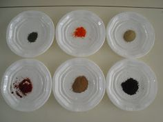 Recursos Infantiles: Proyecto Prehistoria. Pigmentos naturales para pintar: perejil,cacao,café,tierra del patio,colorante alimentario,pimentón.